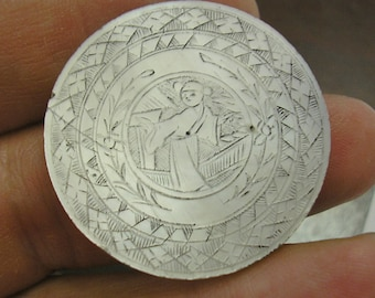 Antique Asian Mother of Pearl GAMING Piece, GAMBLING CHIP, Counter, Hand Engraved, 31mm, Number 11, wonderful condition