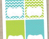 Instant Download Buffet Card Party Labels Blue & Green Chevron Stripes and Polka Dots Printable PDF