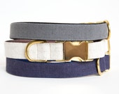 Washed Linen Dog Collar - Neutrals in Navy, Natural and Grey
