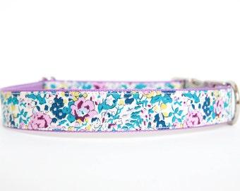 Liberty of London Dog Collar - Teal/Lavender Floral