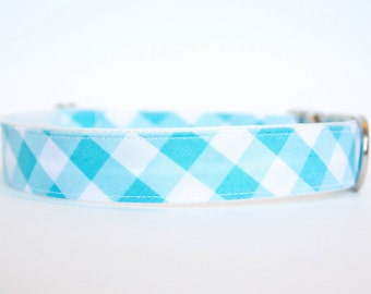 Gingham Dog Collar in Turquoise