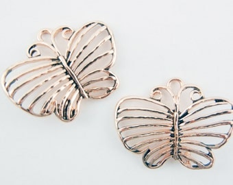 Pair of Linked Burnished Copper-tone Filigree Butterfly Charms