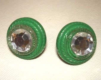 green and faux diamond vintage button earrings