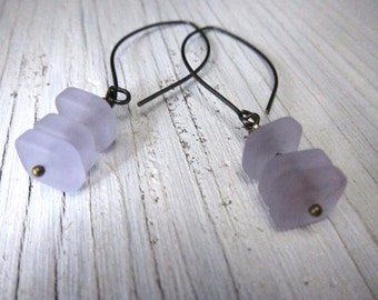 PERIWINKLE: Beach Glass Earrings, Sea Glass, Lilac