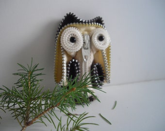 Woodland Owl Brooch Or Vintage Collectible Brown and Tan Handmade by handcraftusa