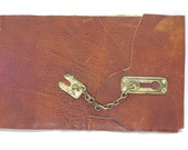 Leather Photo Album / Wedding Guest Book / Sketch Book Out of Reclaimed Leather, Artist Paper and Vintage Chain