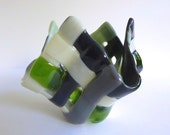 Fused Glass Votive Candle Holder in Gray, Green and French Vanilla