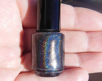 HOLOGRAPHIC Linear Rainbow Spectraflair Black Nail Polish Lacquer 5mL Mini Sized Bottle