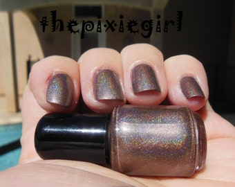 HOLOGRAPHIC Linear Rainbow Spectraflair Dark Taupe Beige Nail Polish Lacquer Bottle 2 Sizes Available