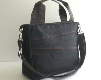 Sale - Water Resistant Nylon Bag in black - Messenger, Laptop bag, Tote, Shoulder bag, Women, Unisex - MiniTAMPA