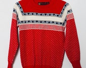 1980's Red Fair Isle Sweater with Heart Motif