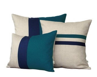 Colorblock Stripe Pillow Set - Teal & Navy Striped Pillow and Color Block Pillow Set by JillianReneDecor (Set of 3)