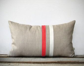 Coral and Cream Striped Lumbar Pillow (12x20) Modern Home Decor by JillianReneDecor (More Colors) Spring 2016 Pantone Peach Echo
