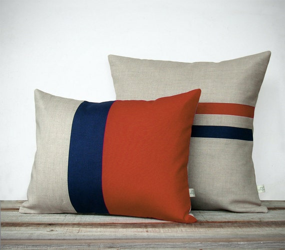 Rust and Navy Pillow Set: Color Block Pillow (12x16) Striped Pillow (16x16) by JillianReneDecor | Modern Home Decor | Colorblock