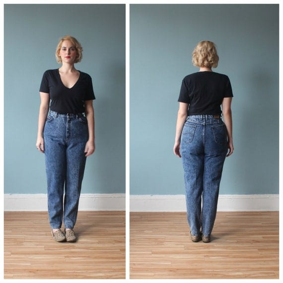 size jeans / acid wash high waisted jeans / 1980s / xl - High Waisted Plus Size Jeans - Jean Dev