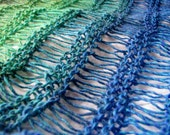 Teal Blue Green Hand Knitted Wool Mix Wraparound Shawl