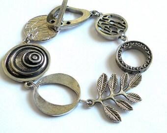 Statement jewelry, silver bracelet, modern jewelry, boho chic bracelet, asymmetric jewelry, toggle bracelet, spring jewelry, metal jewelry