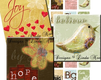 Inspiring Words 2 (75 x 83 scrabble tile Inch) Images Digital Collage Sheet Bottlecap dream believe printable stickers magnet faith hope