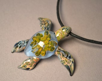 Siberia Blue Sea Turtle Pendant with Anemone  inside the sea turtle shell // Small or Large size