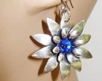 Daisy Earrings, Flower Jewelry, Cobalt Blue, Silver and Blue, Blue Rhinestones, Flower Earrings, Silver Daisies, Handmade, Dangle