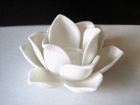 White Ceramic Lotus Flower Candle Holder Tea Light By