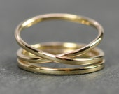 Yellow Gold Infinity Plus One 14K Gold Ring Set, Stacking Rings, Love Gift for Her, Sea Babe Jewelry