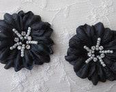 2 pc Handmade BLACK Jasmine flower applique w rhinestone pearl for Hat Bridal Wedding Corsage Hair clip