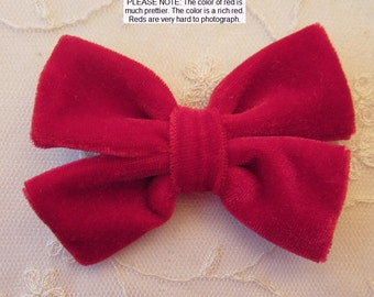 3.5 inch RED VELVET Ribbon Bow Applique Bridal Baby Hair Accessory Pin