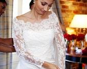 Lace Bridal Bolero - Custom Alencon Lace Off Shoulder Bolero