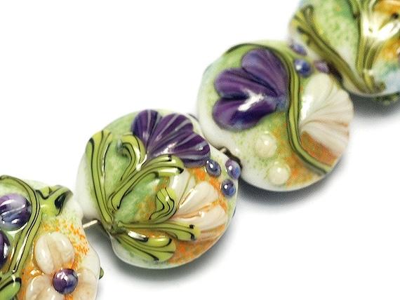 Seven white w/purple Flora Lentil Beads - Lampwork Glass Bead Set 10504502