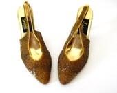 50% off SALE - Slingback Heels / Beaded Heels / Golden Touch
