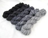 Gradient Yarn Kit, Hand Dyed Merino Wool, Pebble Sock - Crater