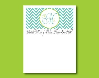 Chevron Notepad, Monogram Notepad, From the mom of notepad, teacher gift