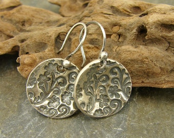 Brocade - Artisan Sterling Silver Flower Disk Earrings - Artisan Sterling Silver Jewelry - Artisan Sterling Silver Earrings