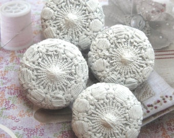 """Large White Wedding Retro Floral Flower Lace Fabric Covered Buttons, White Floral Lace Fridge Magnets, Wedding Magnet, Flat Back, 1.25 """" 4's"""