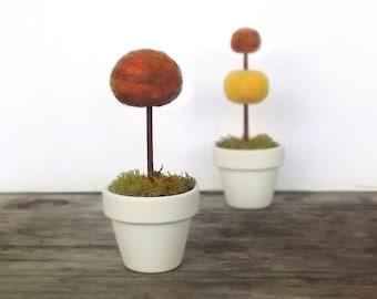 Mini Faux Fall Topiaries Set of 2 - Autumn Home Decor - Thanksgiving Harvest Halloween Miniatures