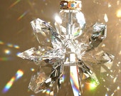 "Gold Trimmed ""ANGELINA"" CLEAR,  Swarovski Crystal Angel Suncatcher, window prism, light catcher, memorial gift, Guardian Angel, 3 Lengths"