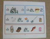 Vintage Child Poster School Ephemera Educational Words Phonics Letters Pictures Nursery Decor