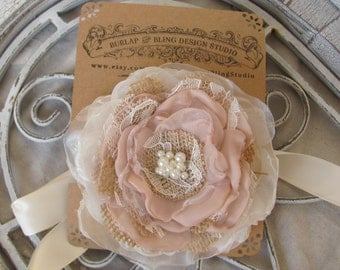 Burlap Corsage, wrist corsage, Bridal Accessory, Champagne Corsage, bridal shower, burlap accessory, flower pin,Fabric flower Corsage,