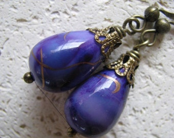 Purple Earrings , Purple Batik and Antique Bronze Earrings