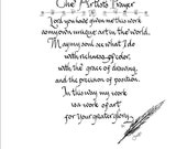 Artist's Prayer with pen and ink Original Design by CalligraphicArtisan