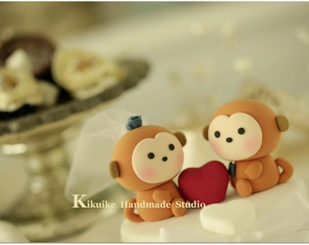 monkeys  Wedding Cake Topper-love monkeys---k704