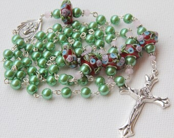 Handmade Green Pearl and Lamp Work Rosary, Custom Rosaries, Pearl Rosary, Catholic Rosary, Made to Order Rosary, One of a Kind