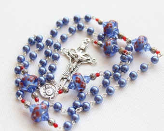Handmade Blue Pearl and Lamp Work Beaded Catholic Rosary, Handmade Catholic Rosary, Handmade Jewelry, Rosary Necklace, Custom Rosary