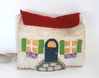 Boiled Wool Handbag -- A Country Cottage Shoulder Bag OOAK