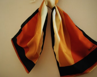 Fall fashion vintage 70s autumn color block large polyester scarf. Made by  Patricia In Paris.