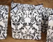 Blank Mini Card Set of 10, Intricate Black and White Vintage Design, Reverse Pattern on the Inside, Black Envelopes, mad4plaid