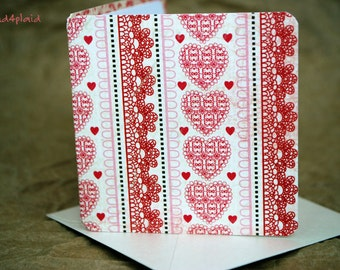 Blank Mini Card Set of 10, Valentine's Day Hearts with Contrasting Pattern on the Inside, Metallic Pearl Envelopes, mad4plaid
