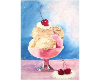 Original Painting * ICE CREAM And CHERRIES * Dessert Art by Rodriguez