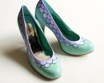 Hand painted Heels - Scalloped Pastel Lilac and Blue Shoes  - Size UK 4/ US 6.5/ EU 37 - Kezbirdie
